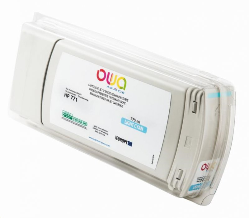 OWA Armor cartridge pro HP DesignJet Z 6200, 6600, 6800, 775ml, B6Y12A, light Cyan